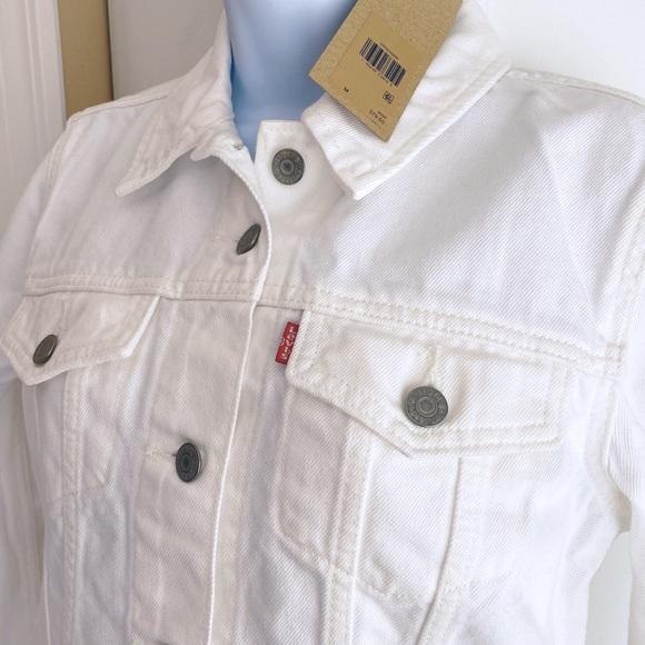 Levi's White Trucker Jacket 100% Cotton Sz Medium
